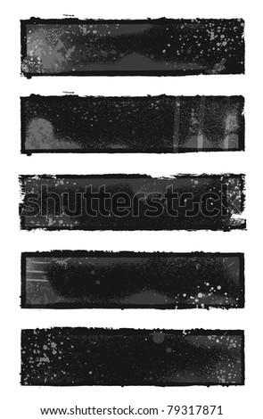 Set of 5 black and gray grunge banner designs