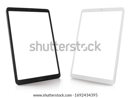 Set of black and white tablet computers, isolated on white background