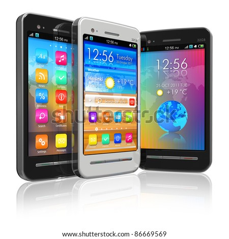 Set of black and white touchscreen smartphones isolated on white reflective background