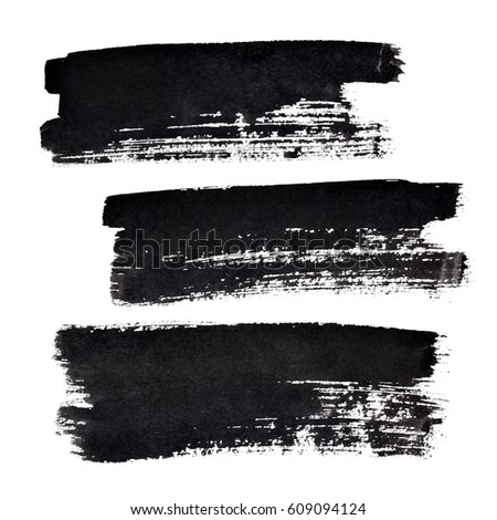 Set of black bold brush strokes isolated on the white background. Elements for your design