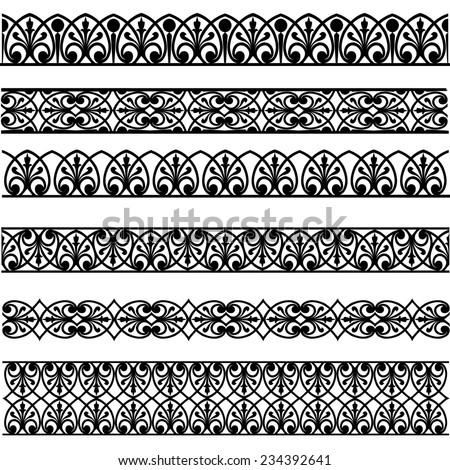 Set of black borders isolated on white #234392641