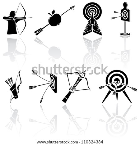 Set of black Bow icons on white background, illustration