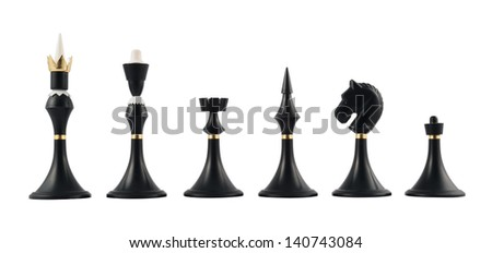 Set of black chess figures isolated over white background