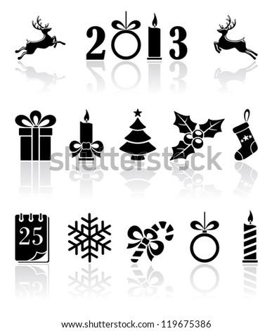 Set of black Christmas icons, illustration - stock photo