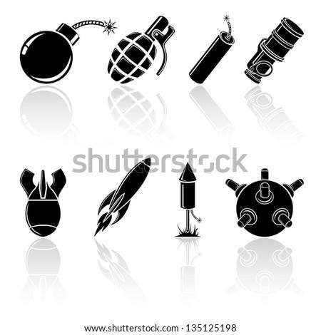 Set of black explosive icons, illustration.