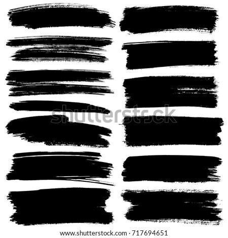 Set of black flat brush strokes isolated on the white background - raster illustration
