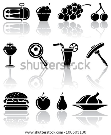 Set of black food icons, illustration