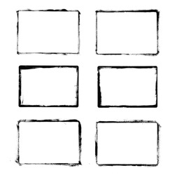 Set of black grunge frames isolated on white background