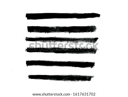 Set of black grunge strokes.Grunge strokes isolated on a white background.Artistic grunge strokes made with art brush.