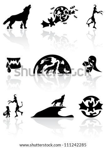 Set of black Halloween icons on white background, illustration
