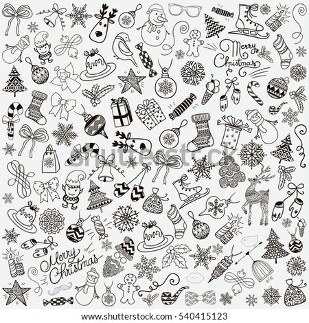 Set of Black Hand Drawn Artistic Christmas Doodles. Xmas Illustration. Outlined Sketched Decorative Rustic Design Elements, Cartoons. New Year