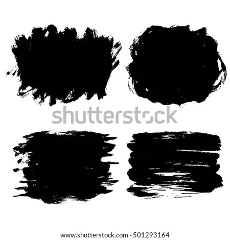 Set of black hand drawn brush strokes, ink stains clip-art, isolated on white backdrop.  #501293164
