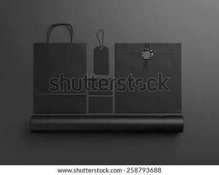 Set of  black identity elements  on black paper