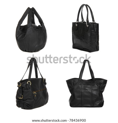set of black leather female bags isolated on white