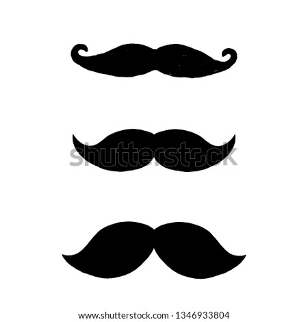 Set of black mustaches isolated on white background. Three hand drawn mustaches.