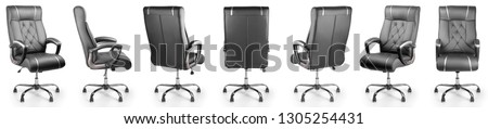 set of black office chair isolated on white background #1305254431