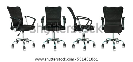 set of black office chair isolated on white background #531451861