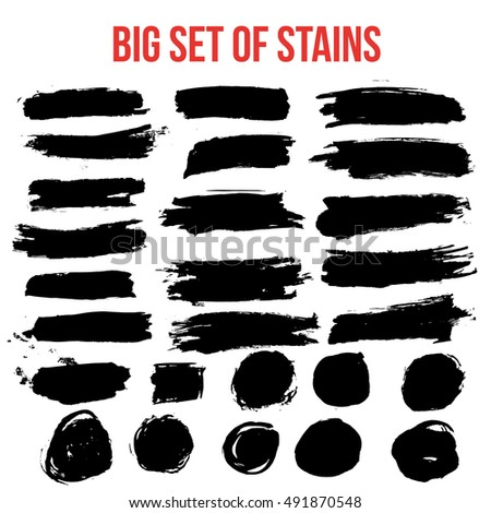 Set of black paint artistic creative brush elements.
