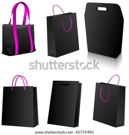 Set of black shopping bags. Vector version available in my gallery.