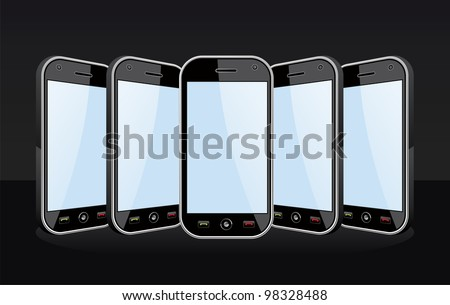 Set of black smart phones templates on black background. You can place your own images on the screens.
