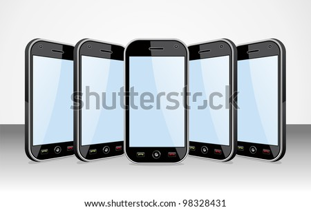 Set of black smart phones templates on white background. You can place your own images on the screens.