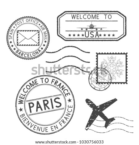 Set of black stamps. Postmarks and travel stamps- Welcome to France, Welcome to USA. Illustration isolated on white background. Raster version