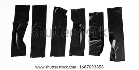 Set of black tapes on white background. Torn horizontal and different size sticky tape, adhesive pieces. Foto stock ©