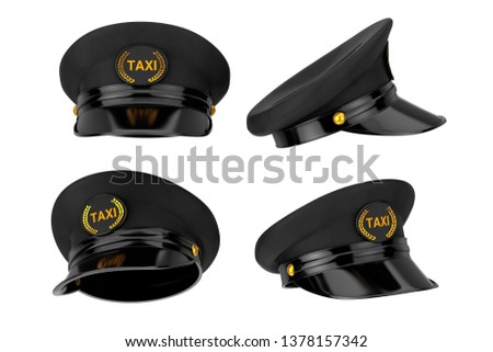 4fd7c509 Set of Black Taxi Driver Caps with Goldan Cockade and Taxi Sign on a white  background
