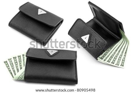 set of black wallets with dollars isolated on white