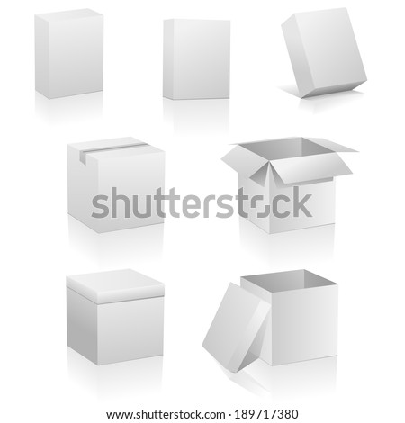 Set of blank boxes isolated on white background. Three kinds of boxes is represented: software box, traditional packing box and retail or present box. #189717380
