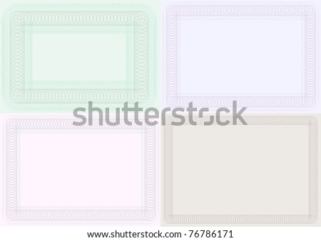 Set of Blank Certificate Backgrounds in Different Color
