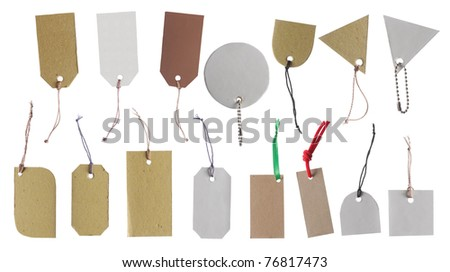 set of Blank hang tag, gift tag, sale tag, price tag label, etc. isolated over white background