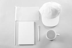 Set of blank items for branding on light background
