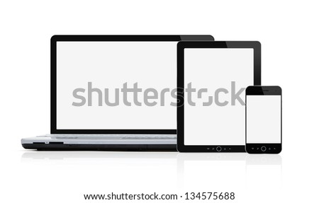Set of blank modern mobile devices isolated on white background with clipping path for the screens