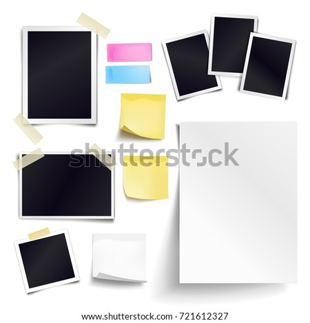 Set of blank paper objects. Empty white sheet of A4 format, photo frames, yellow sticky notes. Realistic empty paper templates with soft shadows isolated on white background