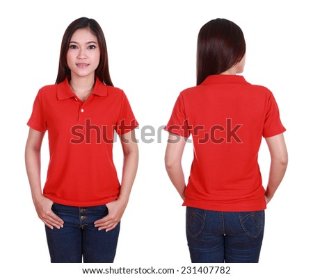 set of blank polo shirt front back on woman isolated on white background