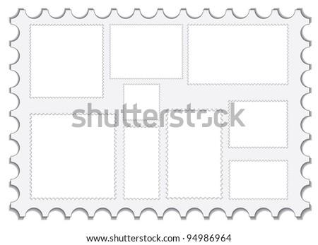 set of blank post stamps illustration