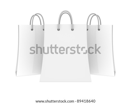 Set of blank shopping bags