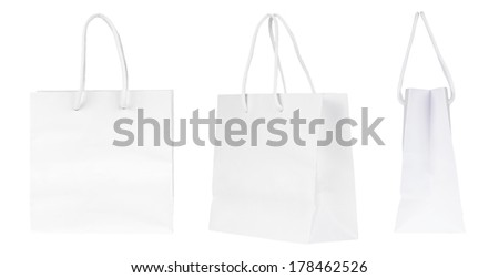 Set of blank shopping paper bags