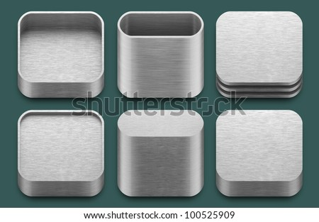Set of blank template app aluminium icons for applications.