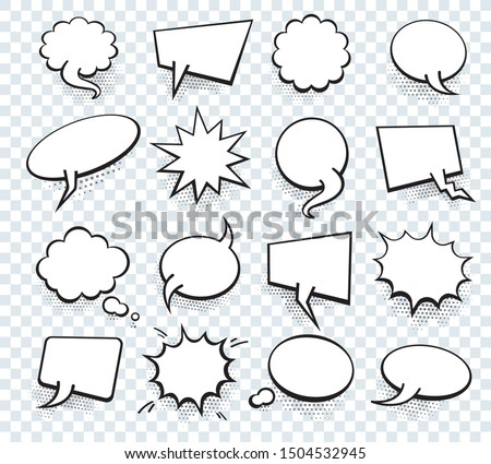 Set of blank template in Pop Art style. Raster Comic Text Speech Bubble Halftone Dot Background. Empty Cloud of Comics book dialog Space for Cartoon Box pop-art.