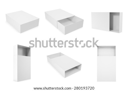 set of blank white boxes closed and opened isolated on white background with shadows. 3d illustration High resolution