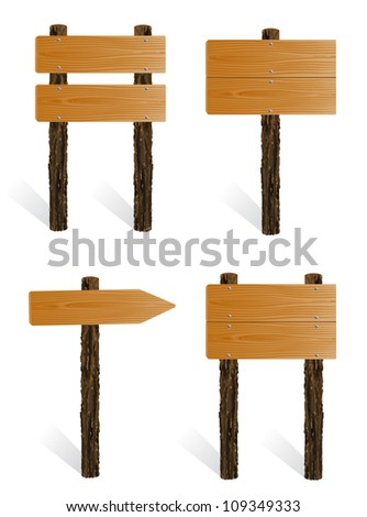 Set of blank wooden sign boards