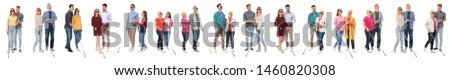 Set of blind people with long canes on white background Foto d'archivio ©