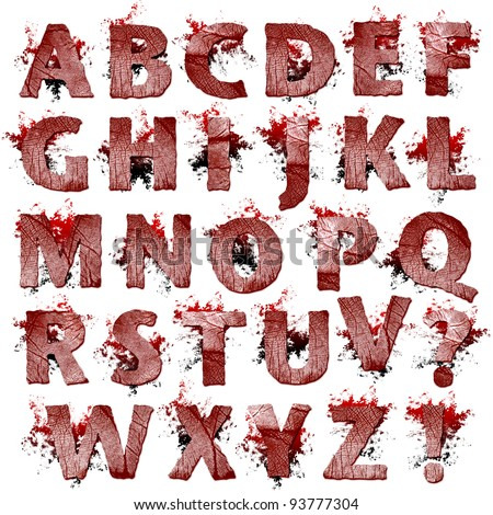Set of bloody Fingerprint letters artwork isolated on a white background - stock photo
