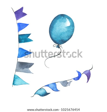 Set of blue balloon and ropes with flags isolated on white background. Hand drawn watercolor illustration.