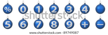 Set of blue Christmas balls with silver numbers