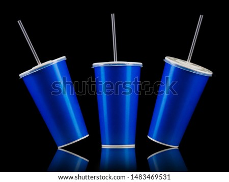 Set of blue cups with cap and tube isolated on black background. Concept of refreshments in cinema or watching movies #1483469531