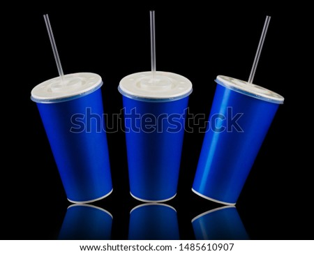 Set of blue cups with cap and tube isolated on black background. Concept of refreshments in cinema or watching movies #1485610907