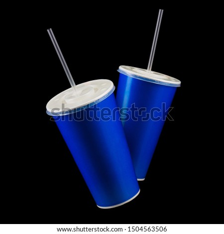 Set of blue cups with cap and tube isolated on black background. Concept of refreshments in cinema or watching movies #1504563506